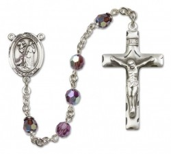 St. Rocco Sterling Silver Heirloom Rosary Squared Crucifix [RBEN0344]