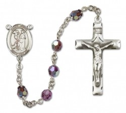St. Roch Sterling Silver Heirloom Rosary Squared Crucifix [RBEN0345]
