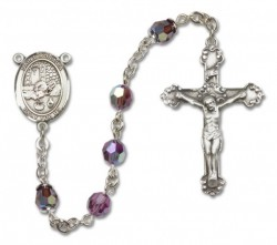 St. Rosalia Sterling Silver Heirloom Rosary Fancy Crucifix [RBEN1347]