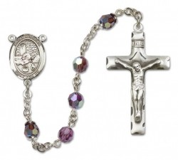 St. Rosalia Sterling Silver Heirloom Rosary Squared Crucifix [RBEN0347]