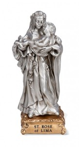 St. Rose of Lima Pewter Statue 4 Inch [HRST538]