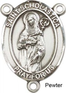 St. Scholastica Rosary Centerpiece Sterling Silver or Pewter [BLCR0265]