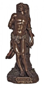 St. Sebastian Statue, Bronzed Resin - 8 inches [GSS026]