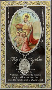 St. Sophia Faith, Hope, Love Medal in Pewter with Bi-Fold Prayer Card [HPM050]