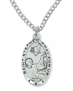 Men's St. Stephen Medal Sterling Silver [MVM1085]