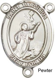 St. Tarcisius Rosary Centerpiece Sterling Silver or Pewter [BLCR0360]