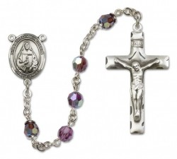 St. Theodora Guerin Sterling Silver Heirloom Rosary Squared Crucifix [RBEN0400]