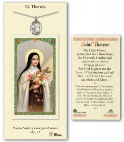 St. Theresa Medal in Pewter with Prayer Card [BLPCP051]