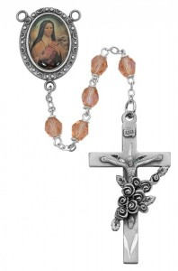 St. Therese Rose Glass Rosary [RBMV073]