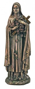St. Therese Statue, Bronzed Resin - 8 inch [GSS045]