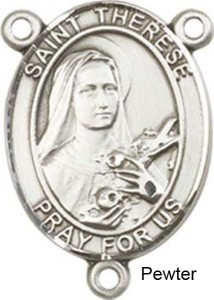 St. Therese of Lisieux Rosary Centerpiece Sterling Silver or Pewter [BLCR0312]