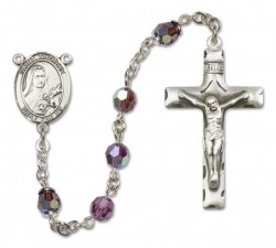 St. Therese of Lisieux Sterling Silver Heirloom Rosary Squared Crucifix [RBEN0402]