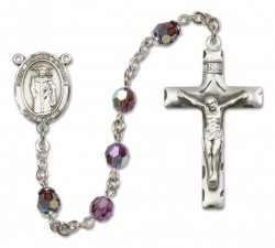 St. Thomas A Becket Sterling Silver Heirloom Rosary Squared Crucifix [RBEN0403]