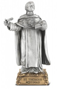 Saint Thomas Aquinas Pewter Statue 4 Inch [HRST552]