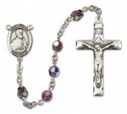 St. Thomas the Apostle Sterling Silver Heirloom Rosary Squared Crucifix [RBEN0407]