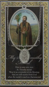 St. Timothy Medal in Pewter with Bi-Fold Prayer Card [HPM054]