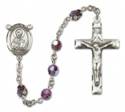St. Timothy Sterling Silver Heirloom Rosary Squared Crucifix [RBEN0408]