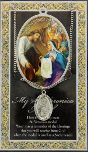 St. Veronica Medal in Pewter with Bi-Fold Prayer Card [HPM055]