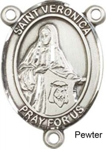 St. Veronica Rosary Centerpiece Sterling Silver or Pewter [BLCR0276]