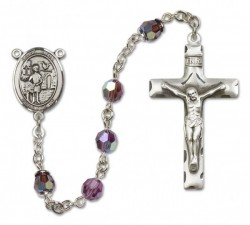 St. Vitus Sterling Silver Heirloom Rosary Squared Crucifix [RBEN0418]