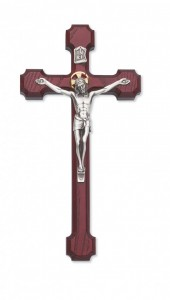 Stained Cherry Wall Crucifix Squared Budded Tips - 10 inch [CRX3826]