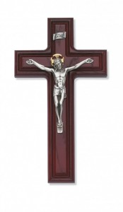Dimensional Edge Stained Cherry Wall Crucifix 10 inch [CRX3828]
