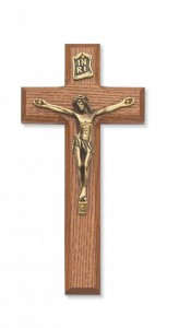 Beveled Edge Stained Walnut Wall Crucifix 7 inch [CRX3819]