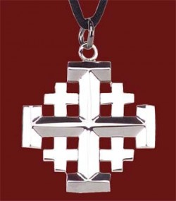 "Stainless Steel Jerusalem Cross Pendant - 1 1/4"" H [TSG1002]"