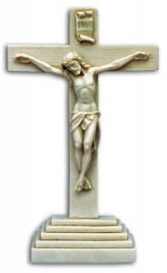 Standing Antiqued Alabaster Crucifix 10 1/2 Inches [CRX4027]