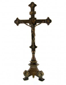 Standing Crucifix in Antiqued Brass - 13 Inches [GSCH1148]
