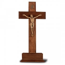 Standing Walnut Crucifix with Gold-tone Corpus and Base- 10 inch [CRX4316]