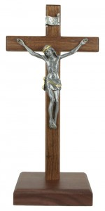 Standing Walnut Crucifix with Two-Tone Corpus 10 Inch [CRX4417]