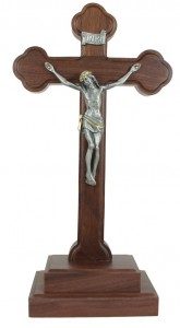 Standing Walnut Crucifix with Two-Tone Corpus 11.5 Inch [CRX4414]
