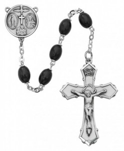 Sterling Silver Boys Confirmation Rosary in Black [MVRB1013]