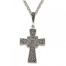 Sterling Silver Cross Necklace with Genuine Antiqued Marcasite Stones [SN314]
