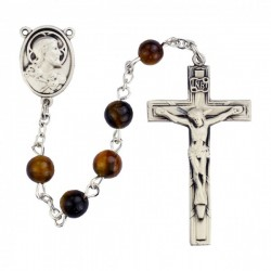 Sterling Silver Holy Family Holy Spirit Brown Wood Rosary [MVRB1121]