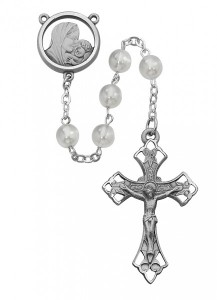 Sterling Silver Mother of Pearl Madonna and Child Rosary [MVRB1095]