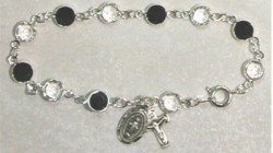 Sterling Silver Rosary Bracelet with Jet and Clear Austrian Crystal Beads [MVM1186]
