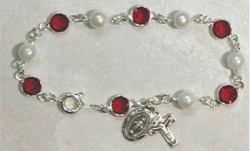 Sterling Silver Rosary Bracelet with Pearl and Ruby Austrian Crystal Beads [MVM1185]
