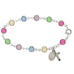 Sterling Silver Rosary Bracelet with Multi Color Austrian Crystal Beads [MVM1181]