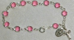 Sterling Silver Rosary Bracelet with Pink Austrian Crystal Beads [MVM1182]