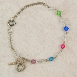 Sterling Silver Rosary Bracelet with Swarovski Crystal Beads [MVM1170]