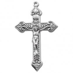 Leaf Accent Sterling Silver Rosary Crucifix [RECRX013]