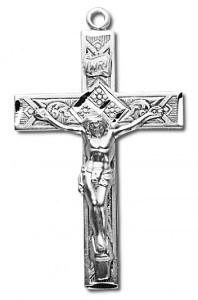 Pretty Square Edge Sterling Silver Rosary Crucifix [RECRX018]
