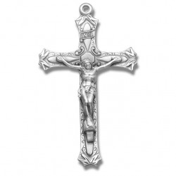 Elegant Scroll Sterling Silver Rosary Crucifix [RECRX021]