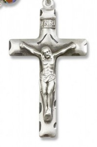 Square Edge Sterling Silver Rosary Crucifix [RECRX1063]