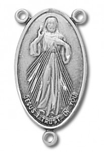 Sterling Silver Sacred Heart Rosary Centerpiece [RERC008]
