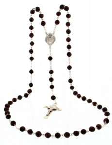 Men's Sterling Silver Scapular Rosary with Coco Beads [HMBR042]