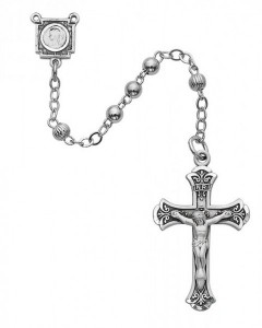 Sterling Silver Women's Fluted Bead Rosary [MVRB1016]