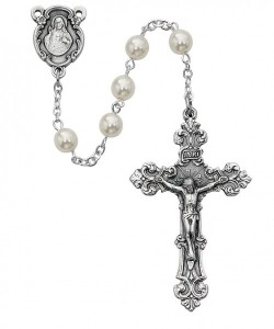 Sterling Silver Women's Sacred Heart Cream Beads [MVRB1005]